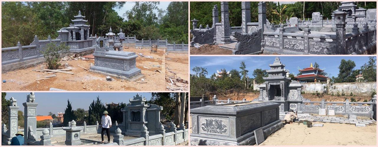 Xây dựng lăng mộ đá đẹp, xây mộ đá đẹp đá xanh nguyên khối có kích thước chuẩn phong thủy