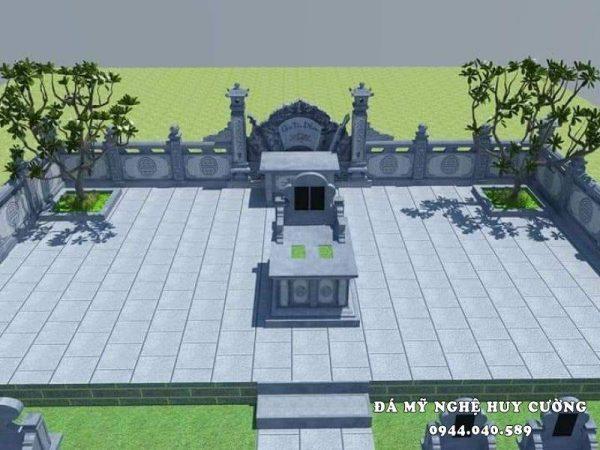 Mẫu Lăng mộ đá xanh gia tộc, dòng họ được thiết kế với kiến trúc khoa học, phong thủy của Đá mỹ nghệ Huy Cường