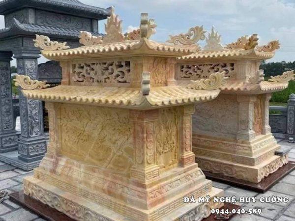 Mẫu Mộ đá vàng cao cấp, nguy nga và quý tộc của các nghệ nhân ĐÁ MỸ NGHỆ HUY CƯỜNG NINH BÌNH thiết kế và chế tác